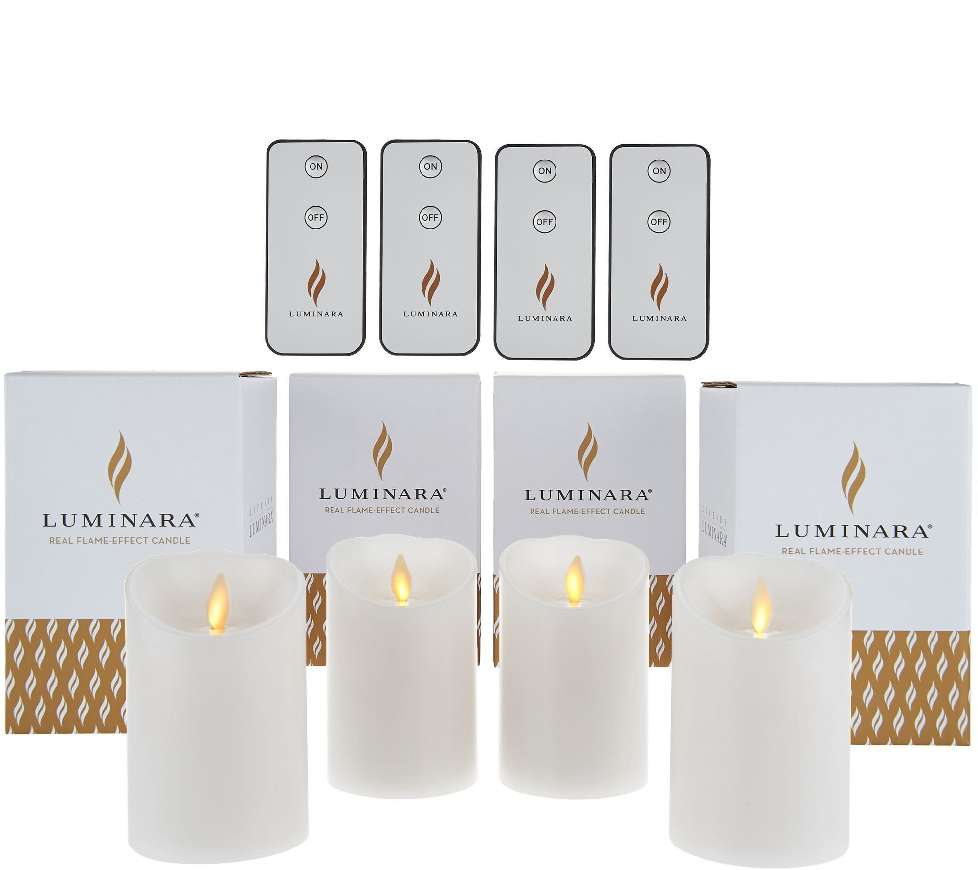 Luminara 4'' Unscented Flameless Candles with 4 Remotes - Set of Four White