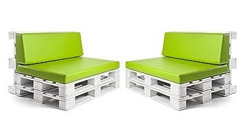Conjunto colchonetas para sofas de palet y respaldos (2 x Unidades) Cojin relleno con espuma. Color Pistacho | Cojines para chill out, interior y ...