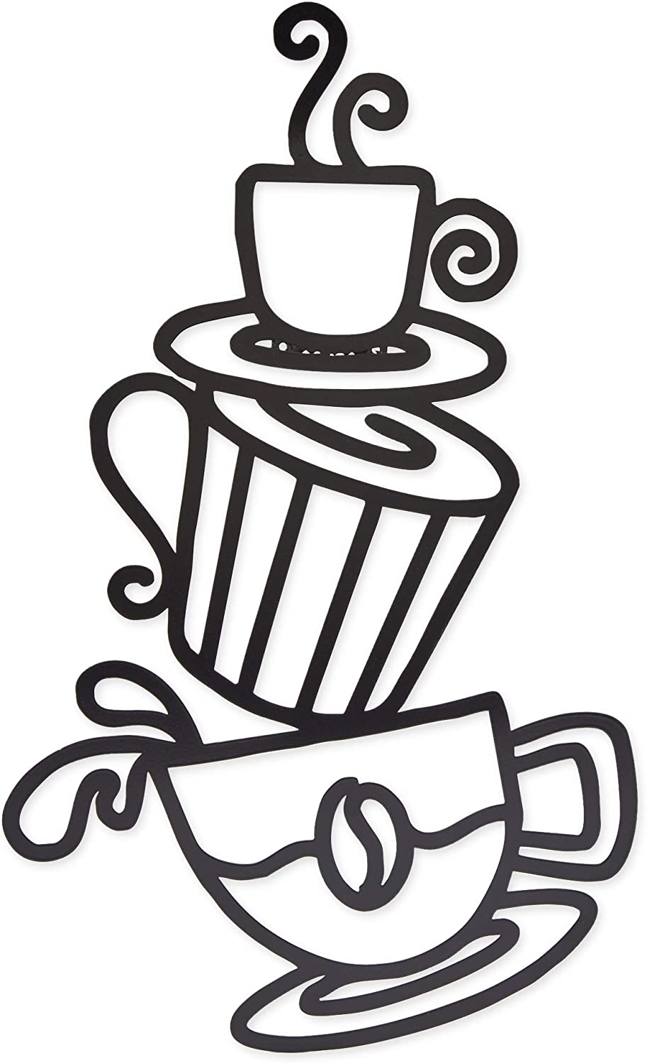 Metal Coffee Cup Wall Sign, Home Kitchen Décor (Black, 8.8 x 14 Inches)