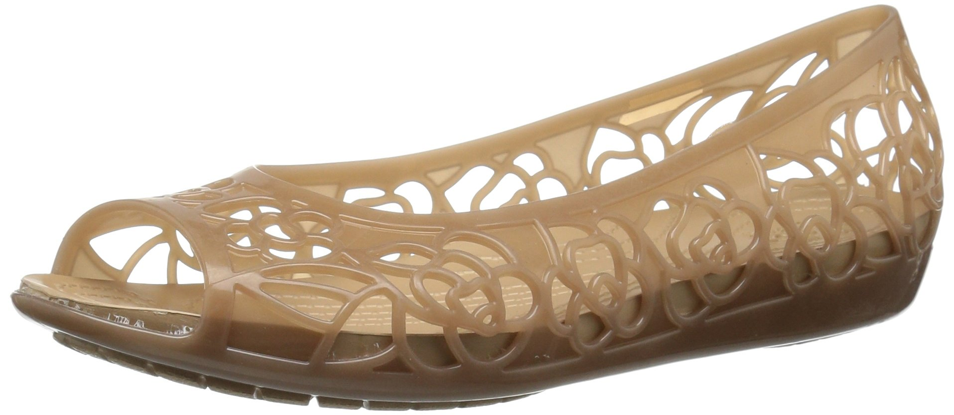 Crocs Women's Isabella Jelly Flat W Ballet, Bronze/Gold, 7 M US