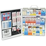 "Pac-Kit by First Aid Only 6155 493 Piece Steel Cabinet Industrial 3 Shelf First Aid Station with Wall Mount Slots and Handle, 17.5"" Height x 13.5"" Width x 6"" Depth"