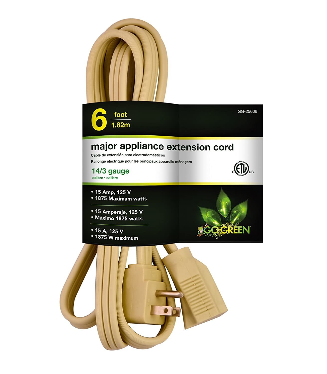 GoGreen Power GG-25606 14/3 6' SPT A/C Extension Cord - Beige