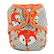 One Size Cloth Diaper Cover Snap with Double Gusset (Dots Fox)