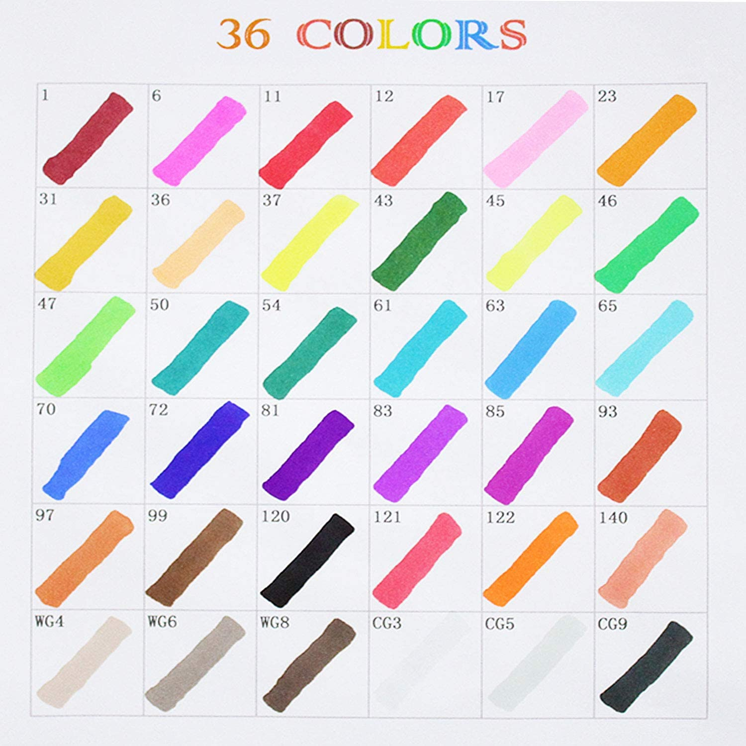 36 Colors Dual-Tip Art Marker for Kids Adults Alcohol-Based Permanent Drawing Markers for Adult Coloring Sketching Painting DIY 36 set