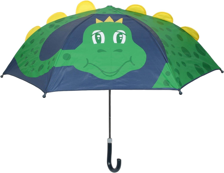 Drizzles Parapluie d/ôme 3D pour Enfant avec poign/ée courb/ée Requin Vert