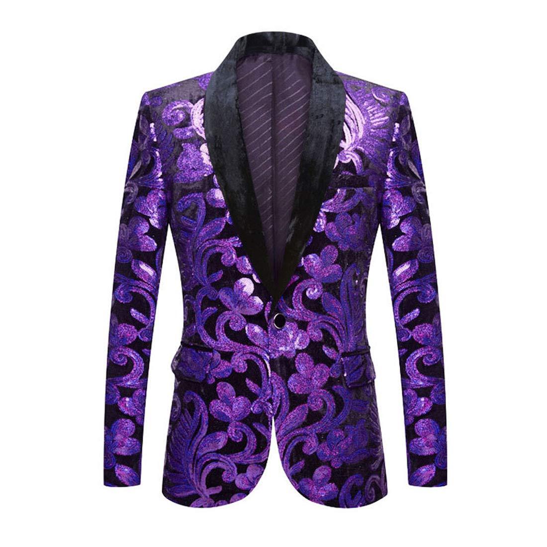 PYJTRL Men Fashion Velvet Sequins Floral Pattern Suit Jacket Blazer (Purple, XXXL/48R) by PYJTRL