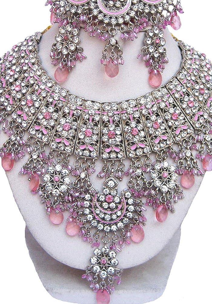 Finekraft Bollywood Wedding Designer Silver Plated Bridal Kundan Zircon Choker Necklace Jewelry Earrings,Tikka Set