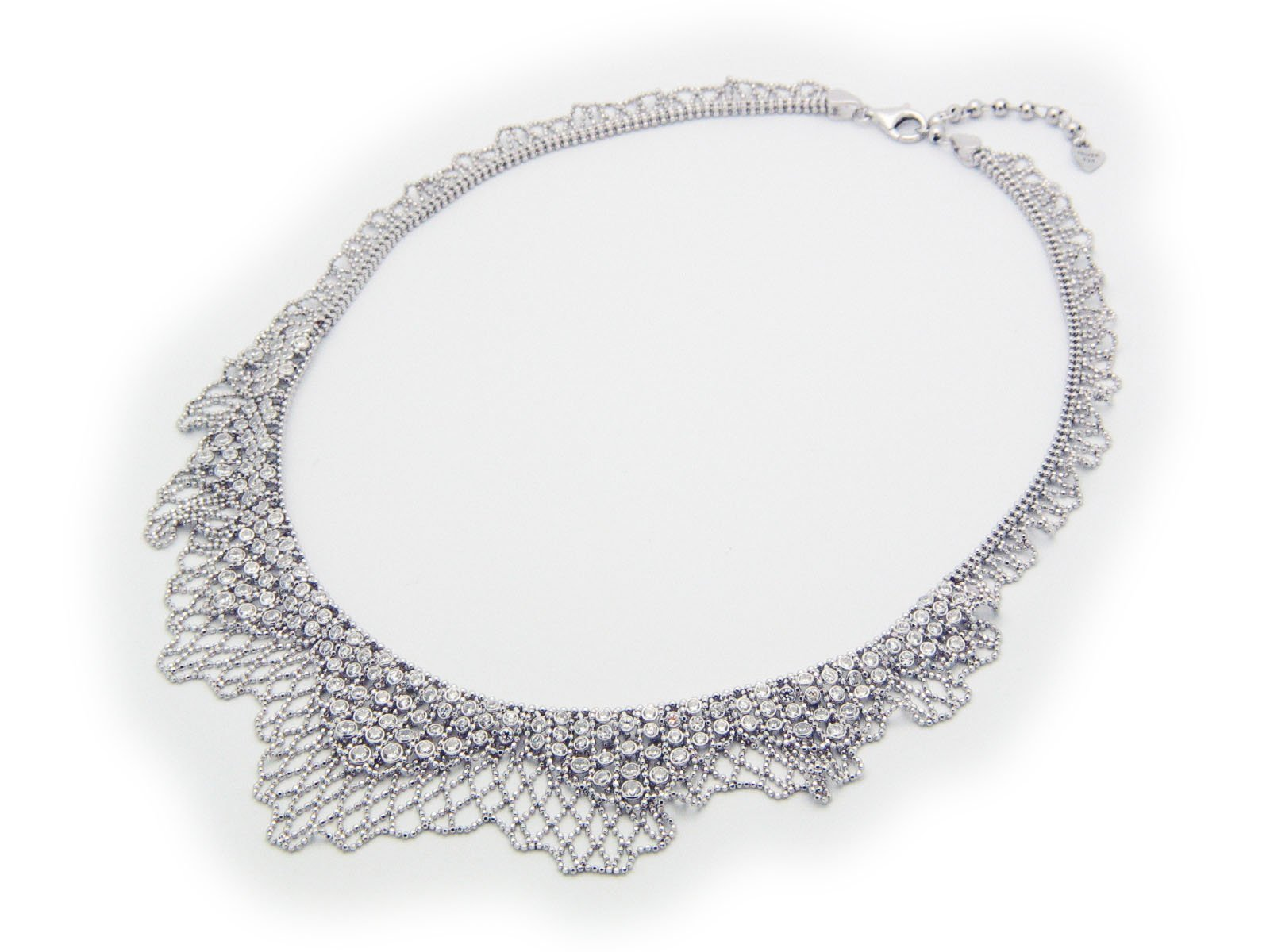 Bridal Silk Collar Necklace in Sterling Silver