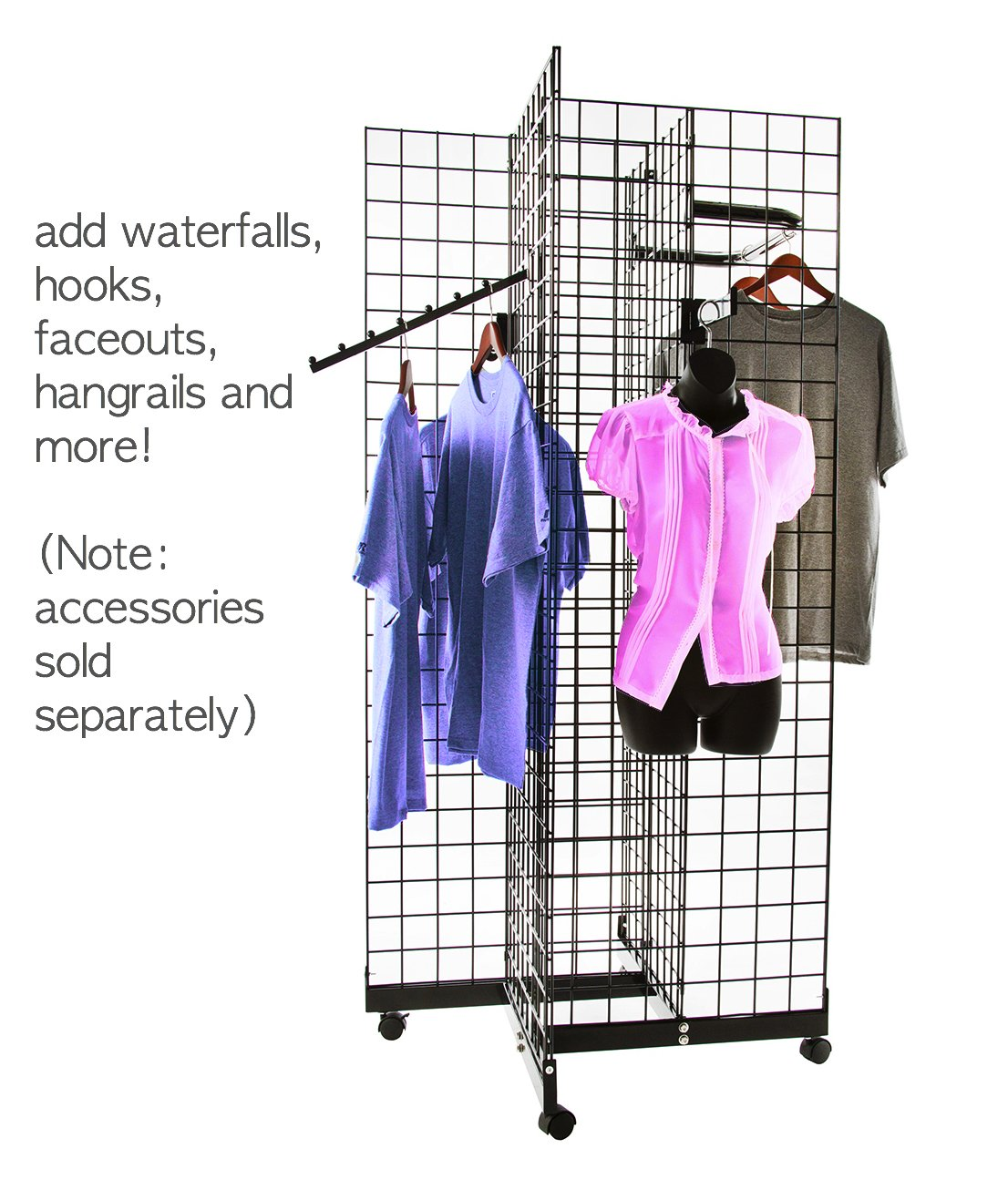Only Hangers Black 4-Way Wire Grid Tower with Base and Casters - 2' x 6' Wire Grid Panel 4-Sided Rolling Display Rack by Only Hangers (Image #2)