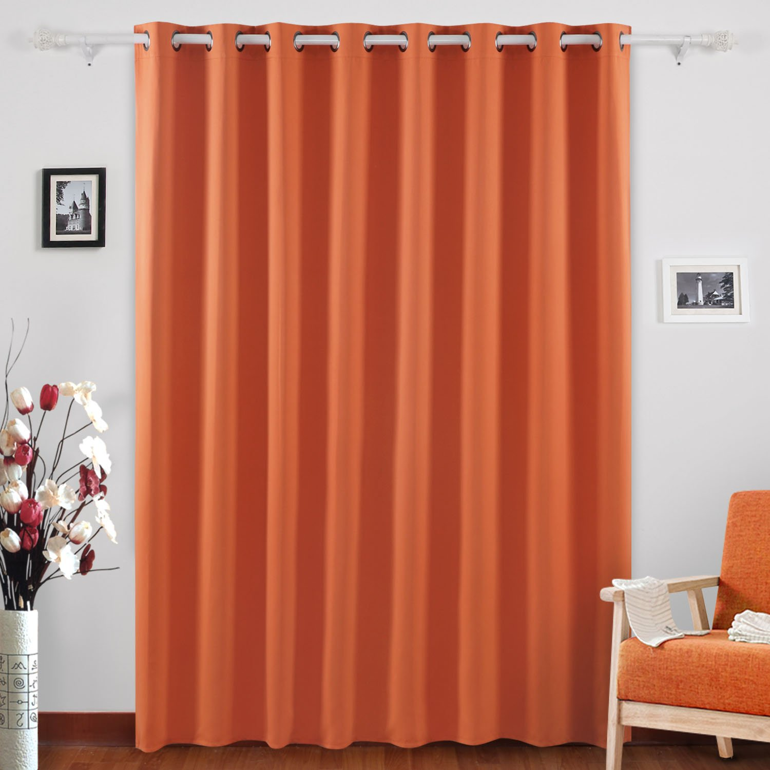 Deconovo Grommet Top Window Curtains Room Darkening Wide Curtains Orange