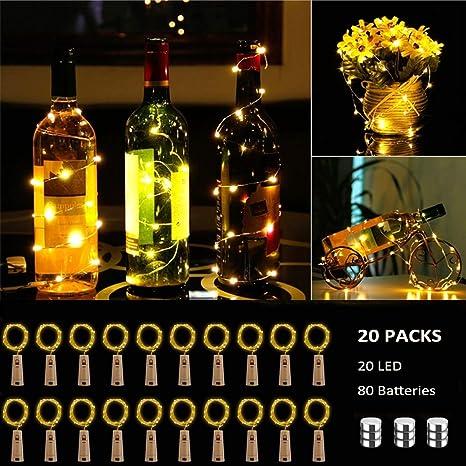 BACKTURE Luz de Botella [20 Pack], Guirnaldas Luminosas Botellas de Vino Luces, 2M 20 LED Bombillas Decoración de Luces para Boda, DIY Fiesta, Adornos ...