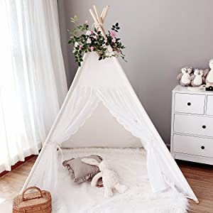 Avrsol Kids Teepee Tent for Girls, Lace Boho Play Tent Tipi Room Decor Gift with 6.5Ft Rose Vine Flowers