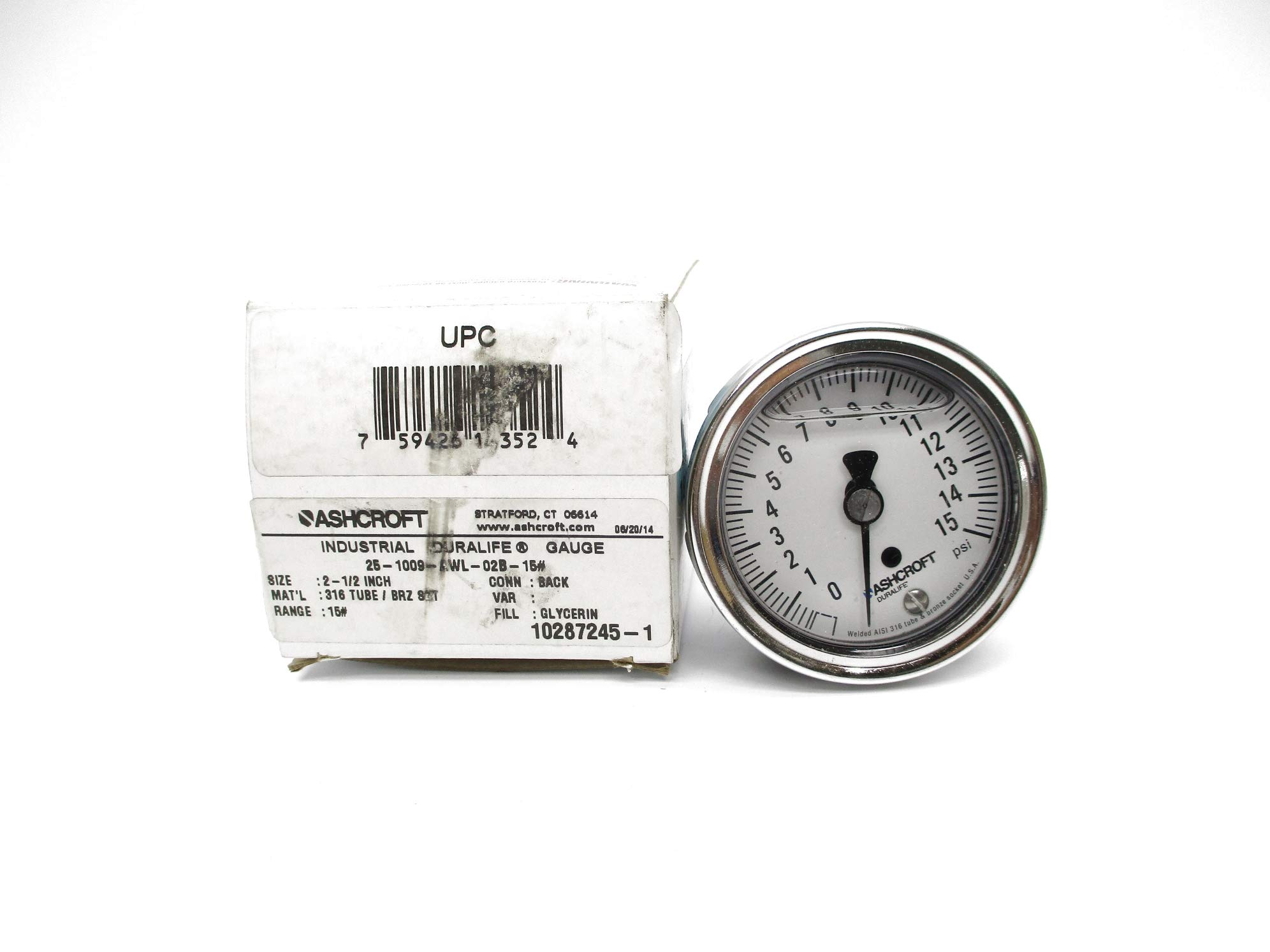 Ashcroft 25-1009-AWL-02B-15# 0-15PSI NSMP by INDUSTRIAL MRO
