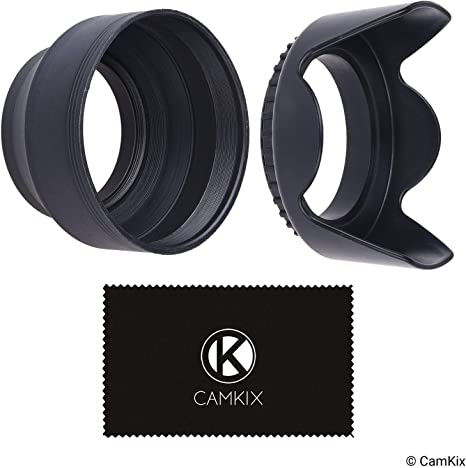Collapsible Reduces Lens Flare and Glare Blocks Excess Sunlight for Enhanced Photography and Video Sun Shade//Shield + Tulip Flower 72mm Set of 2 Camera Lens Hoods Rubber