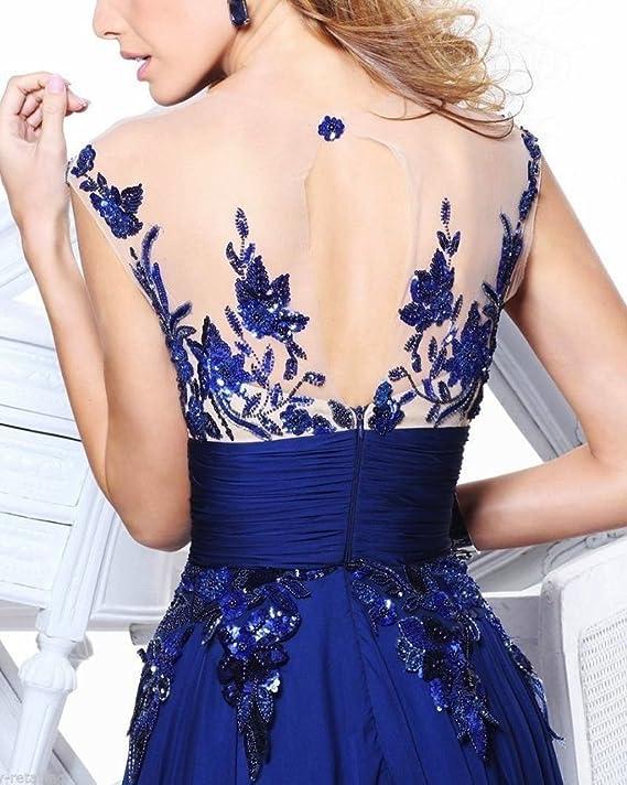 Mujer Vestidos De Noche Fiesta Formal Vestidos Largos Para Estilo Elegantes Sin Manga Maxi Vestido Azul Marino XXL: Amazon.es: Ropa y accesorios