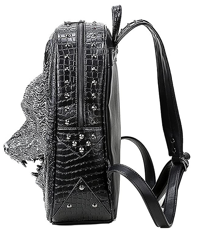 e34b3ceb9e Amazon.com  antaina Black 3D Wolf Head Embossed Backpack Rivet Punk PU  Laptop School Bag  Toys   Games
