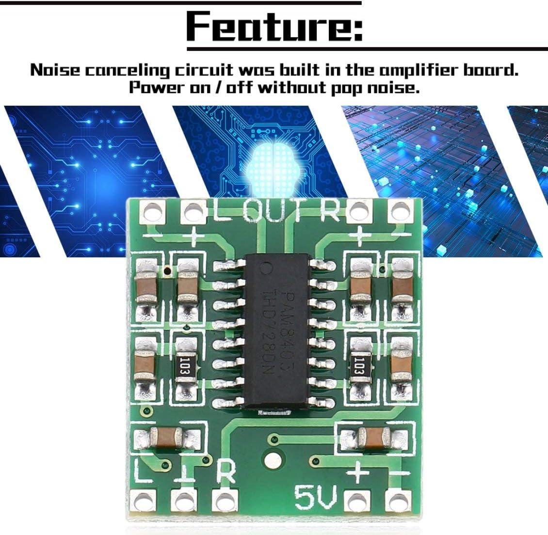 2 canaux 3W Digital Alimentation Pam8403 Classe D Module Audio Carte damplificateur USB DC 5V Mini Carte damplificateur num/érique de Classe D LCD Vert