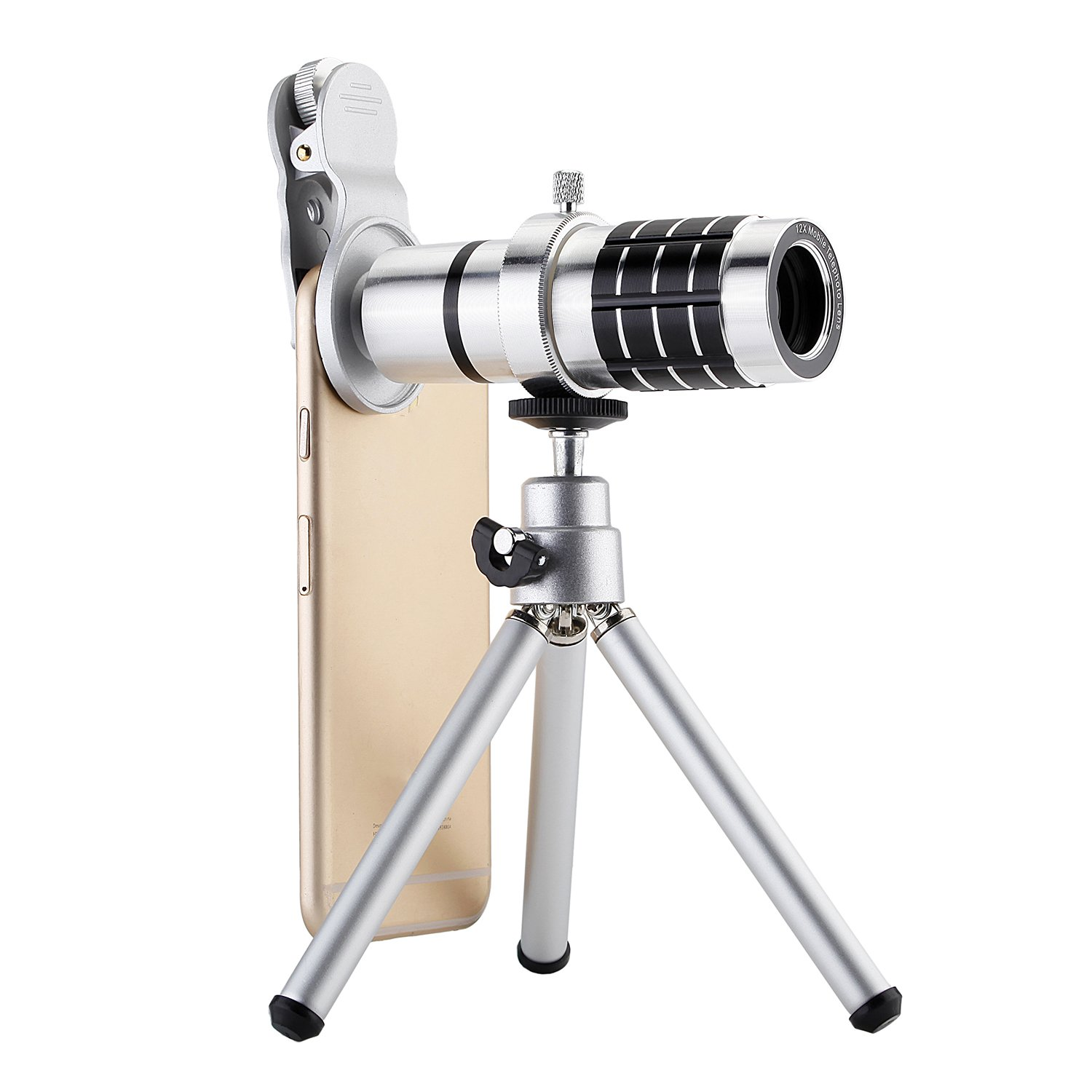 SODIAL Camera Lens Universal Clip-On Phone 12X Optical Zoom Telephoto Lens for iPhone Samsung Huawei Ipad Tablet PC Laptops(Silver)