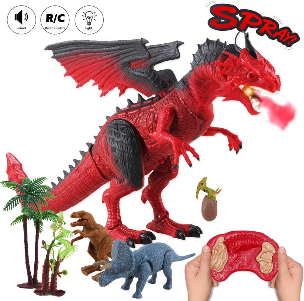 deAO RC Dragón Inteligente Robot Teledirigido con Luces, Sonidos y Efecto de Humo Juguete Electrónico Multifuncional Incluye 3 Figuras de Dinosaurios Mini Adicionales (Rojo)