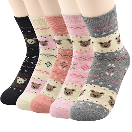 Warm Crew Wool Socks Womens Winter Hand Knit Thick Soft Thermal Girls Socks  5 Pairs at Amazon Women s Clothing store  7a84f7c1a6