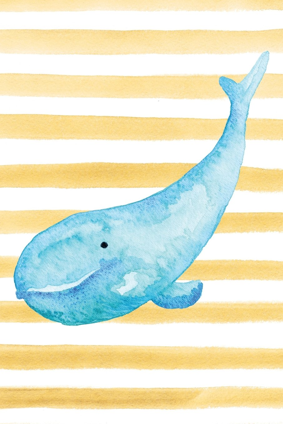 Download Blue Whale Watercolor Stripe Journal: Blank Sketchbook Artist Notebook with Unlined Drawing Paper (Coastal Beaches & Oceans Series) pdf