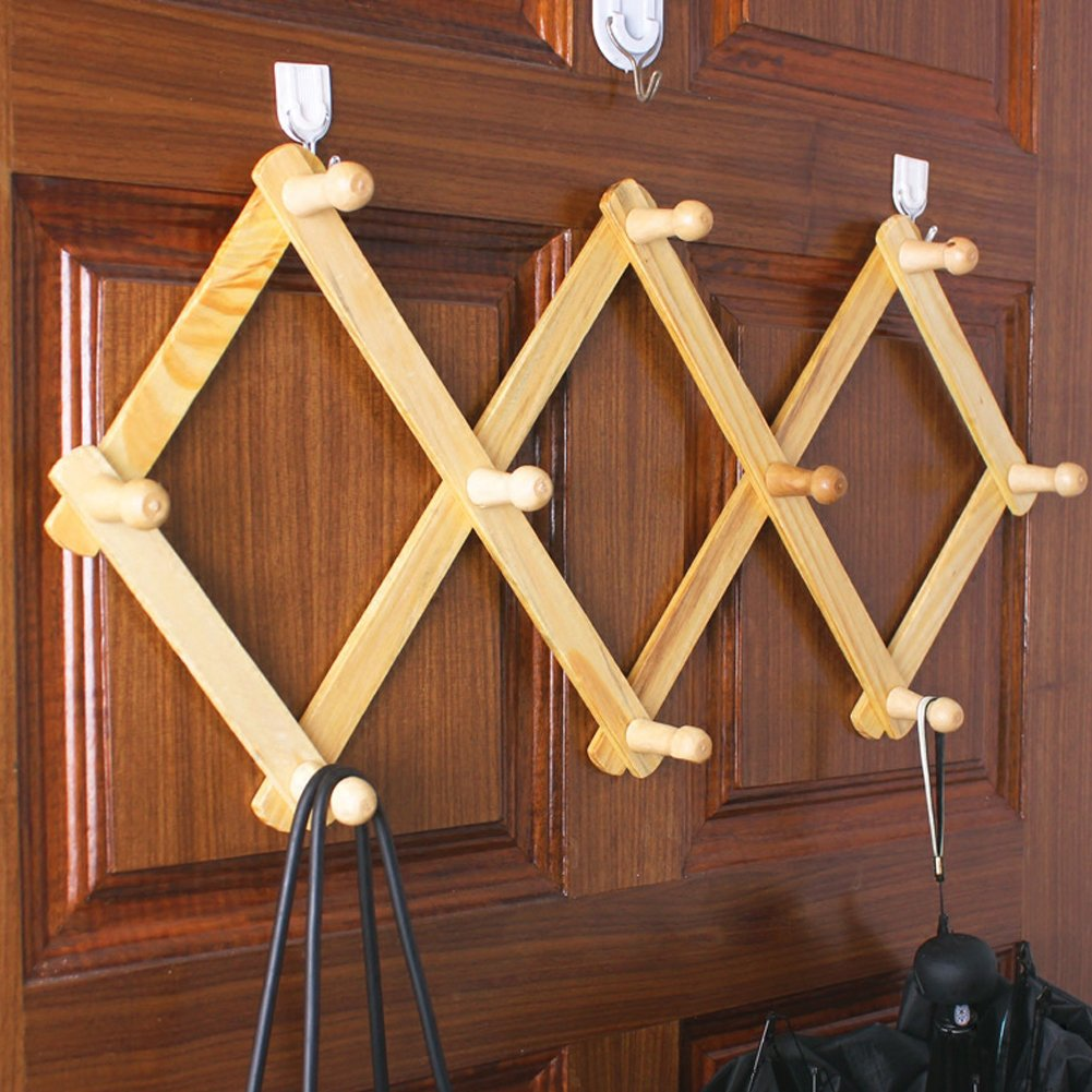 Olpchee Wooden Flexible Hanging Storage Wall Rack Adjustable Expandable Utility Hook for Hat Cap Coat Bag