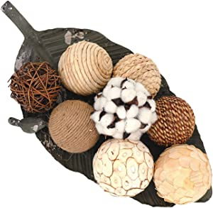 idyllic Decorative Balls for Bowls Natural Wicker 3 Inches Rattan Woven Twig Orbs, String and Cotton Balls Spherical Vase Fillers for Centerpieces - Bag of 8 Brown and White