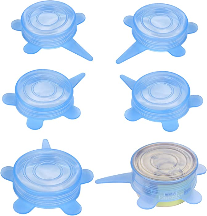 SLSON 6 Pack Pet Food Can Cover Stretchable 1 Fit 3 Universal Size Silicone Can Lids for Dog and Cat Food Blue