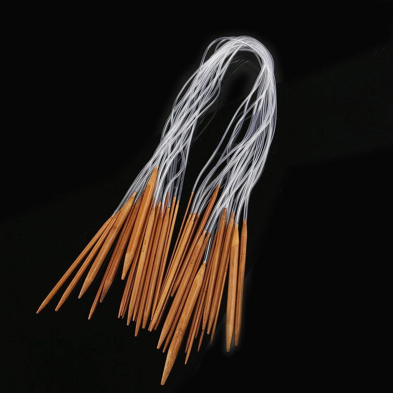 2.0 mm a 10 mm SALAKA 18 Pares de Agujas de Ganchillo de bamb/ú carbonizadas Agujas Circulares de 80 cm