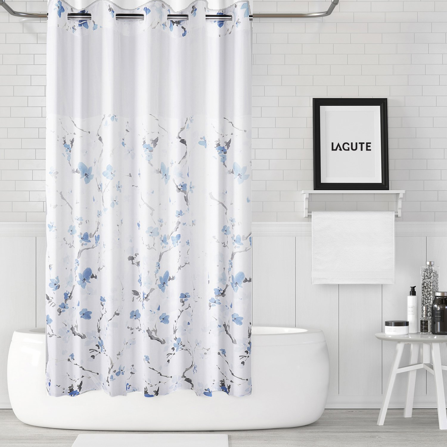 Lagute SnapHook (Hookless) Shower Curtain w/Snap-in Liner | Bathroom Curtain with Removable PEVA Liner [71''x74''] | Translucent See-Through Window, Waterproof and Anti-Mold Polyester Bathtub Curtain