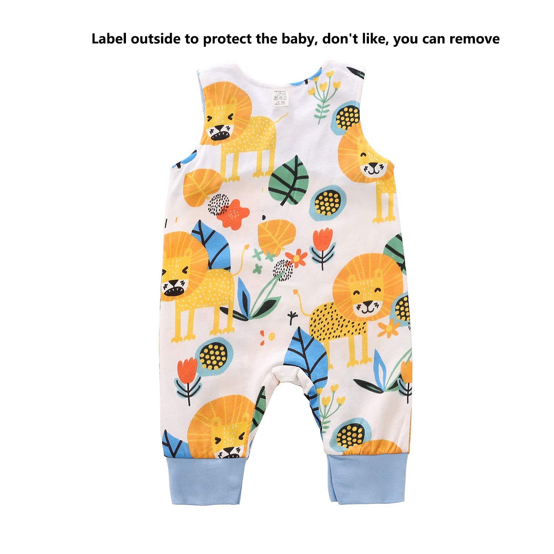 Infant Baby Boy Girl Summer Little Lion One Piece Romper Bodysuit Clothes Set