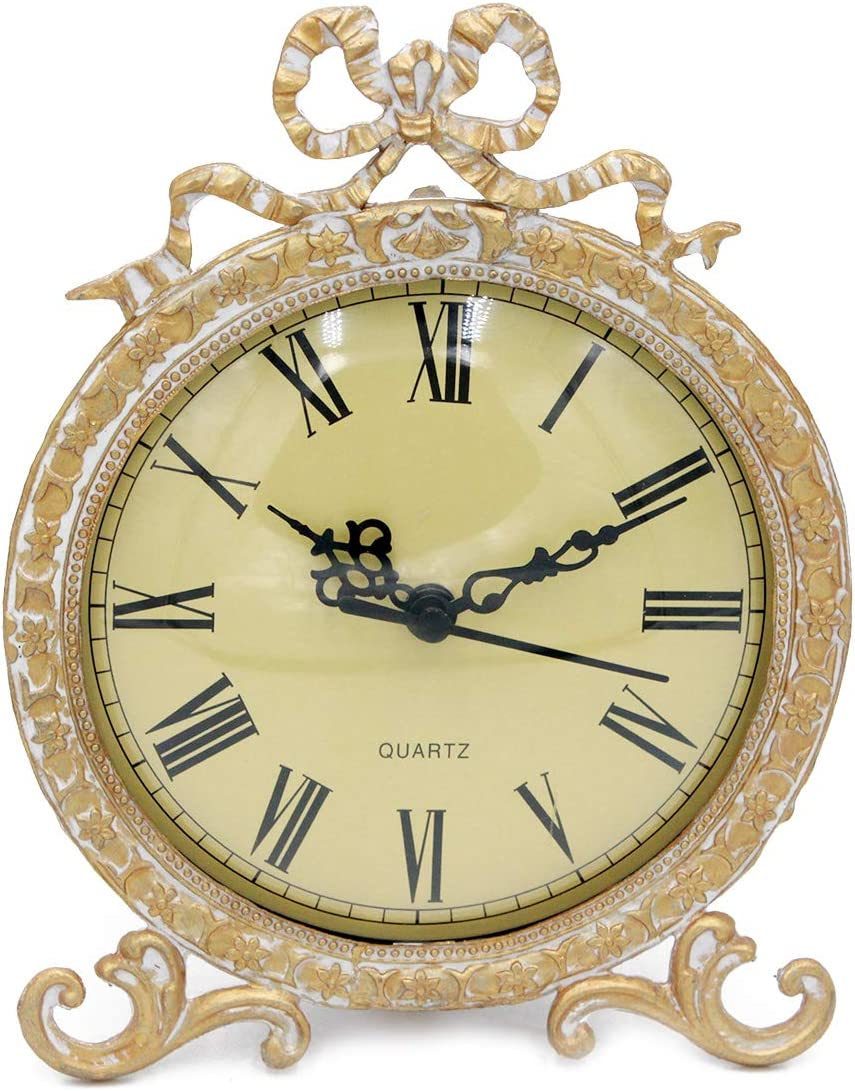 Funly mee Vintage Pewter Table Clock with Antique Golden Bow Plexiglass Shell