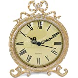 Funly mee Vintage Pewter Table Clock with Antique Golden Bow(Plexiglass Shell)