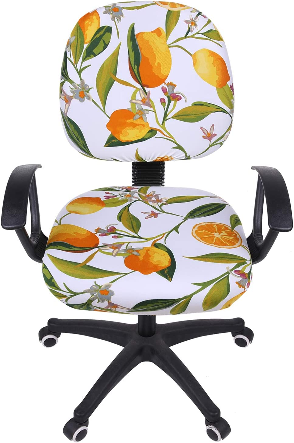 smiry Stretch Print Computer Office Chair Cover, Removable Washable Universal Desk Rotating Chair Slipcover, Yellow Lemon