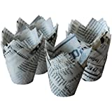 """Tulip Standard Cupcake Liners Wrappers 2"""" Diameter x2.2"""" Height, White Newspaper Print 100Pcs"""