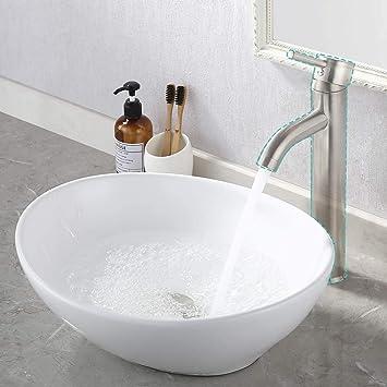 Kes 16 X 13 Oval White Ceramic Vessel Sink Modern Egg Shape Above Counter Bathroom Vanity Bowl Bvs124 Amazon Com