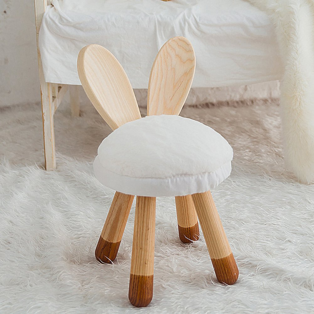 Bench solid wood children stool round stool baby chair household use lovely little stool creative bunny stool-A