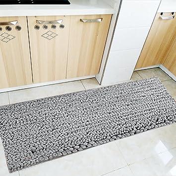 Fashion Dream Long Bath Rug Microfiber Shag Kitchen Rug Runner Bathroom Mat  Grey 16 X 47