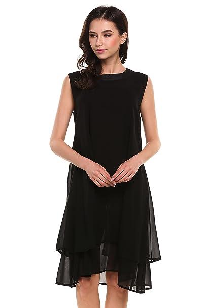2482e4004979 Lantusi Women Sleeveless Round Neck Chiffon Dress Casual Summer Black S