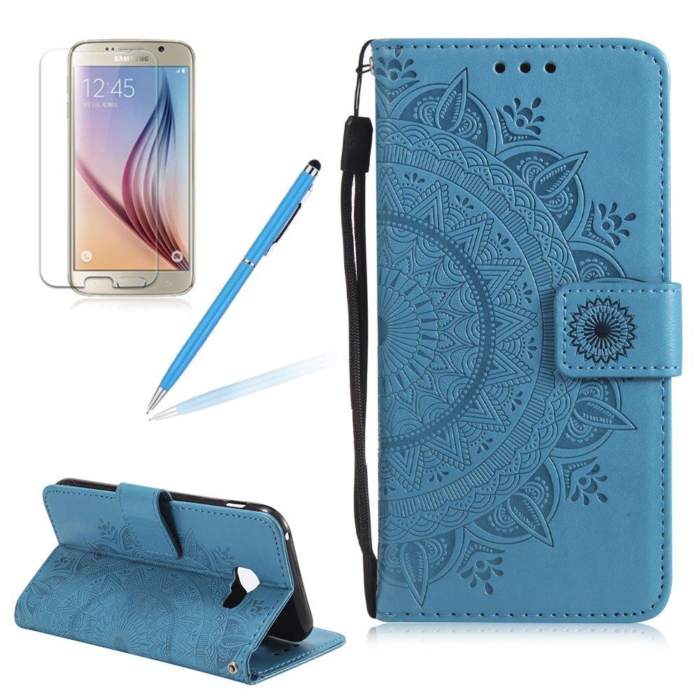 Girlyard Lederhülle für Samsung Galaxy A5 (2017) A520F Wallet Flip Case, Elegant Mandala Blumen Muster Design Schutzhülle mit Lanyard Strap Handyhülle Standfunktion Karteneinschub und Magnetverschluß Etui - Grün
