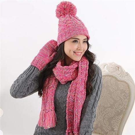 WW caliente coreana de Lady moda Tejer gorro bufanda guantes ...