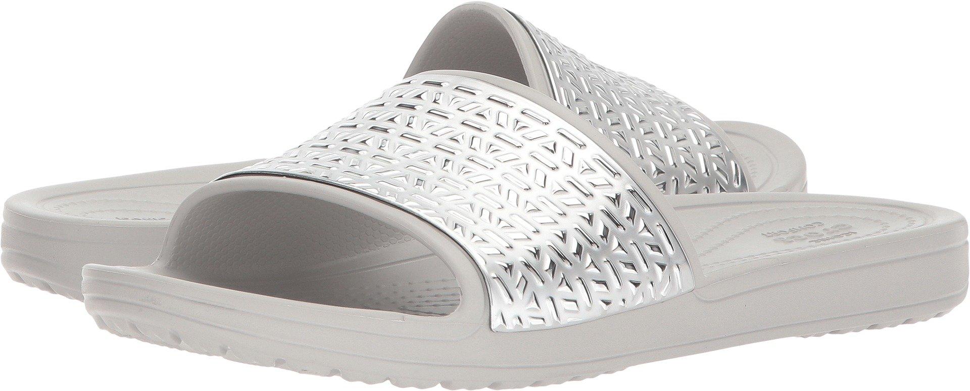 Crocs Women's Sloane Graphic Etched W Slide Sandal, Pearl White/Silver, 9 M US
