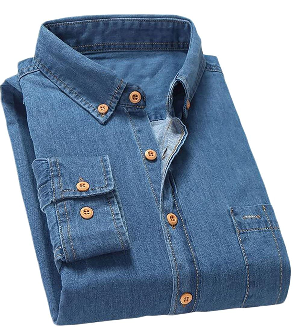 BLTR-Men Casual Slim Fit Denim Cotton Long Sleeve Shirt