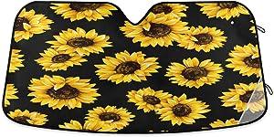 senya Car Windshield Sunshade Sunflower Black Pattern, Blocks Sun Visor Protector Foldable Sun Shield Keep Your Vehicle Cool, Fits Windshields of Most Sizes