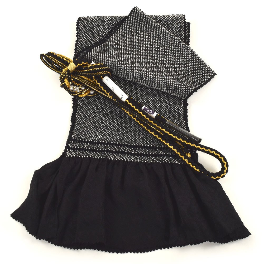 振袖用 帯締め帯揚げセット 総絞り 成人式 B00IGIAUS0 ブラック ブラック