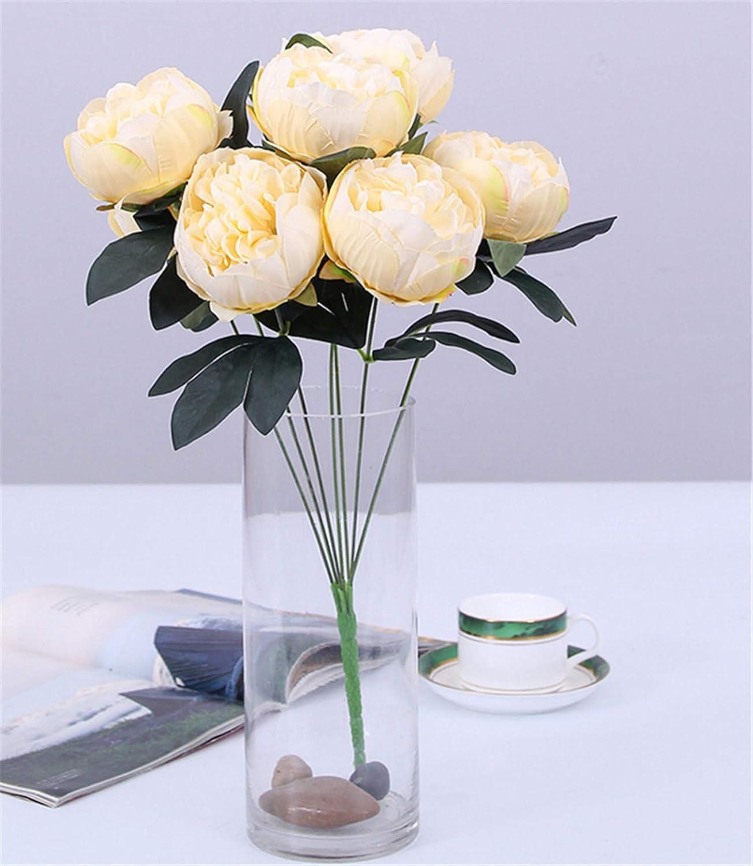 Skyseen 花 人工シルク 牡丹 ブーケ 結婚式 ホームデコレーション 3個セット シャンパン色 B07GB125Q4