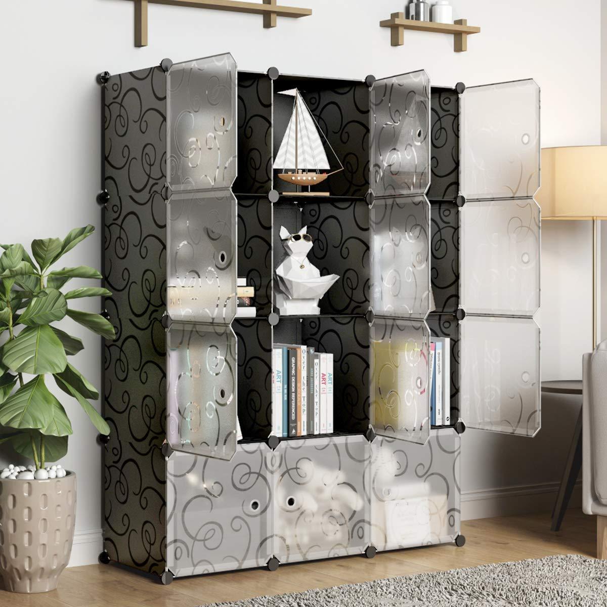 KOUSI Portable Storage Cubbies Storage Shelves Storage Organizer Shelf for Clothes Portable Shelf Toy Organizer Cabinet Plastic Dresser Clothes Storage Storage Cubes, Black, 12 Cubes by KOUSI (Image #3)