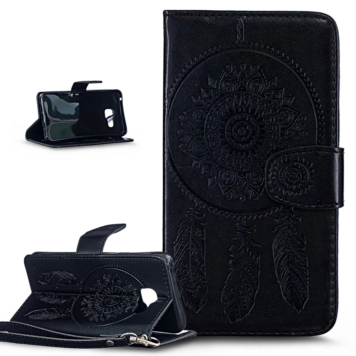 Galaxy A3 2016 Case, Wallet Case for Galaxy A3 2016, ikasus Embossing Dream Catcher Ethnic Tribal Feather Campanula PU Leather Fold Wallet Pouch Case Premium Leather Wallet Flip Stand Credit Card Holders Case Cover for Samsung Galaxy A3 (2016) A310 (4.7'),