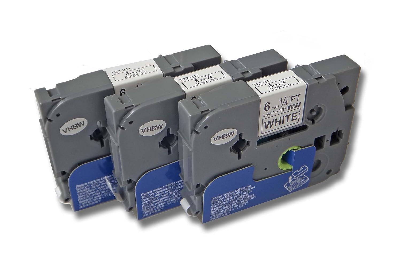 1850 1250 2x vhbw Kassette Patronen Schriftband 6mm f/ür Brother P-Touch 1230PC 1750 2400 wie TZ-211 1280 1290 220 1800 TZE-211. 200