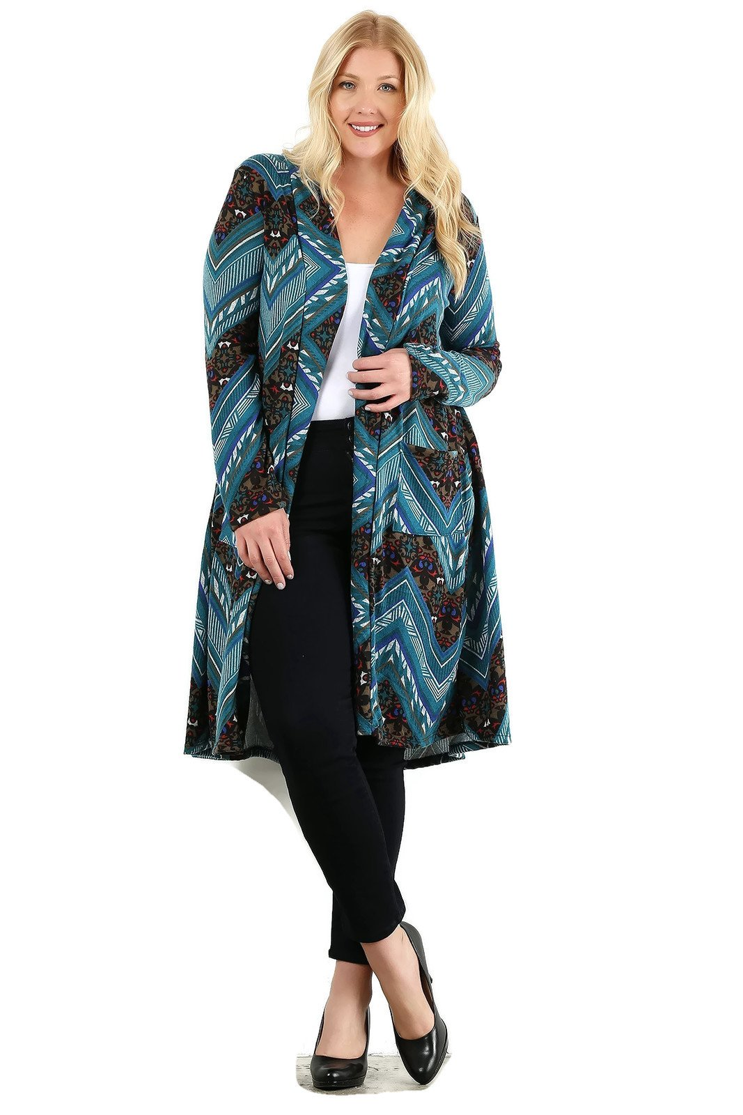 Made in USA Navajo Tribal Aztec Soft Stretch Long Tunic Cardigan Sweater Bundle: Cardigan & Wash Bag (3XL, Teal Multi)